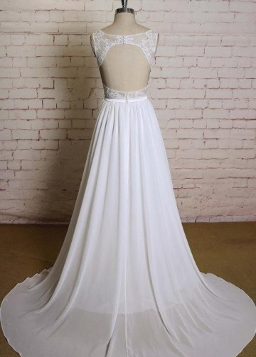 Bohemian Lace Chiffon Wedding Dress with Hollow Back
