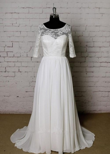 Beautiful Lace Chiffon Modest Wedding Dresses with Sleeves uk
