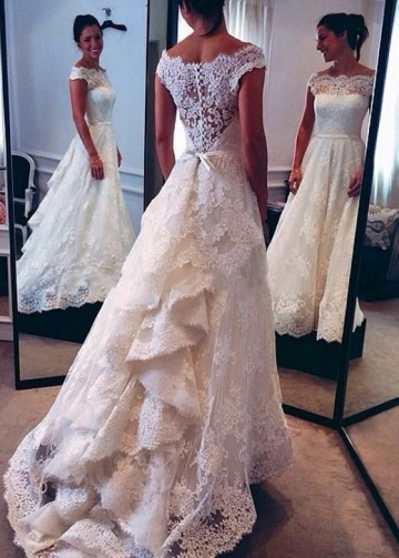 Bateau Cap Sleeves Lace Wedding Bridal Dress with Cascade Train