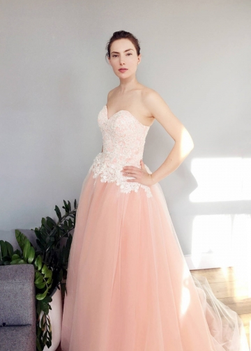 Blush Pink Tulle Skirt Two Toned Wedding Dresses for Sale