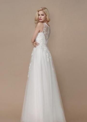 Beaded Appliques Floor-length Wedding Dress with V-neckline