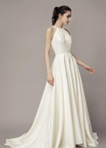 Beaded Halter Satin Bridal Gown with Sweep Train