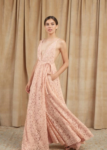 Blush Pink Lace Wedding Dresses Boho Style
