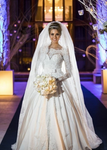 Beaded Lace Long Sleeves Wedding Dress with Satin Skirt