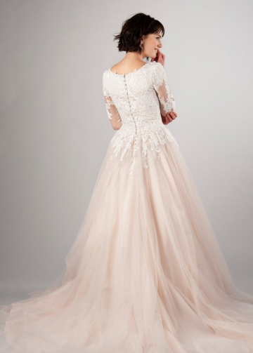 Blush Pink Tulle Wedding Dress with Lace Sleeves