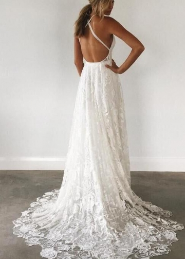 Beautiful Lace Boho Wedding Gown with Halter Straps