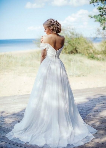 Beaded Lace Off-the-shoulder Wedding Gown with Chiffon Skirt