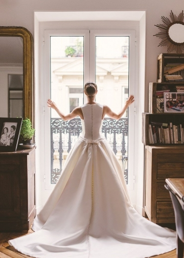 Bateau Satin Wedding Dresses with Buttons Down Train