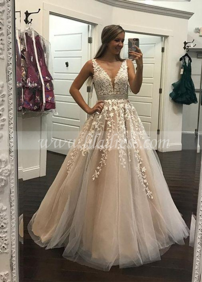 Champagne Wedding / Prom Dress with Ivory Floral Lace Bodice