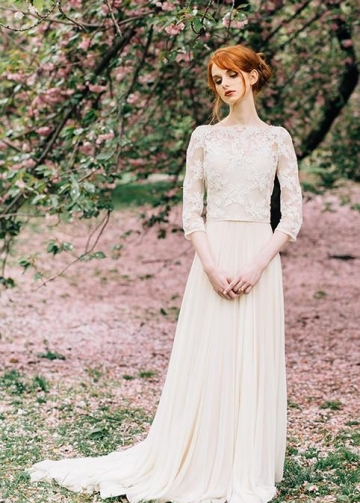 Bateau Spring Wedding Dresses with Lace Sleeves