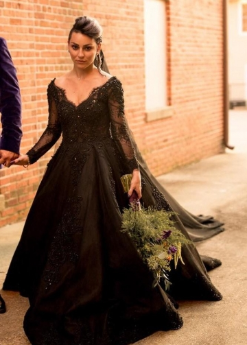 Beaded Lace Black Wedding Dresses Long Sleeves