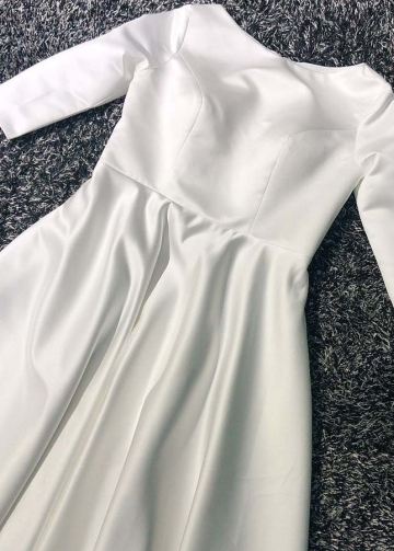 Bateau Satin Modest Wedding Dress with Sleeves