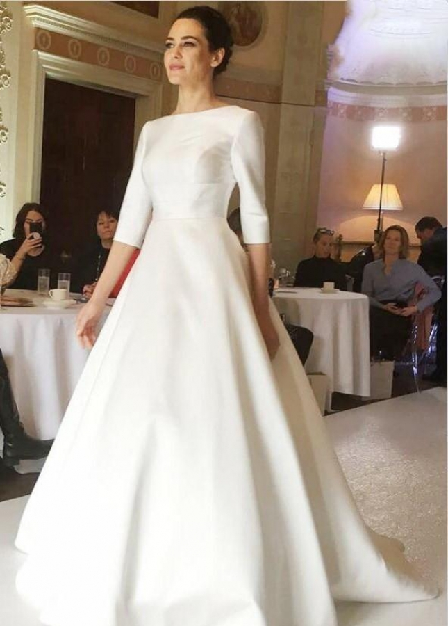 Bateau Satin Modest Wedding Dress with Sleeves