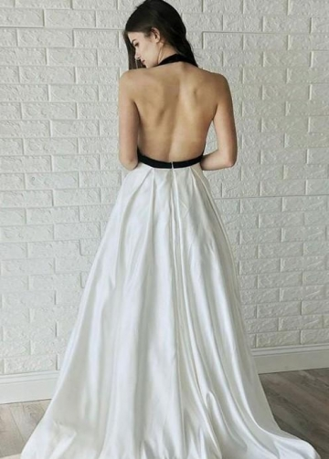 Black and White Wedding Dresses with Halter Neckline