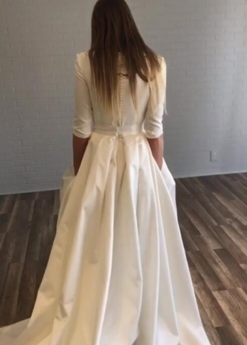 Bateau Satin Half Sleeves Wedding Dresses with Pockets