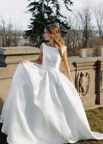 Bateau White Satin Bridal Dresses with Fabric Buttons Back