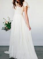 Beach Chiffon Wedding Dress with Short Sleeves vestido de novia de playa