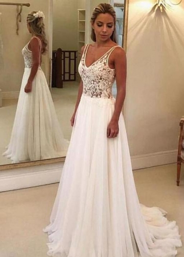 Bohemian Style Wedding Gown Lace Chiffon Skirt