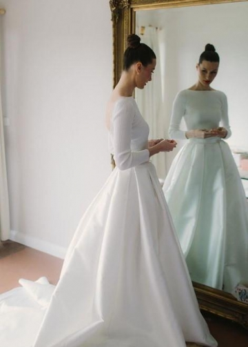 Bateau Satin Long Sleeves Wedding Dresses with Box Pleats