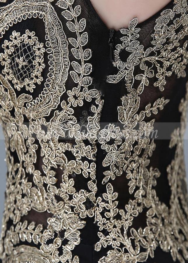 Elegant Black Bateau Neckline Mermaid Evening Dresses