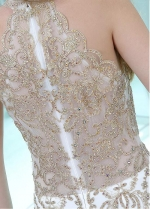 Charming White Halter Neckline Floor-length Mermaid Evening / Prom Dresses