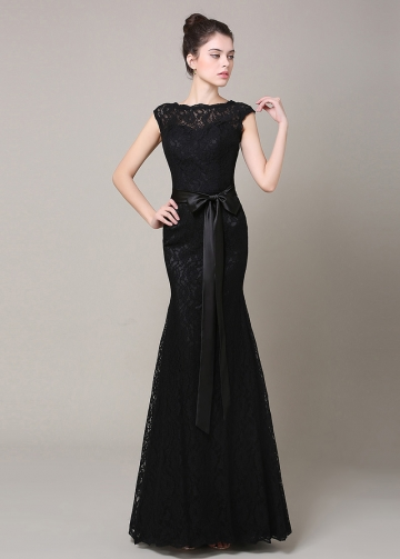 Elegant Lace Bateau Neckline Mermaid Bridesmaid Dress