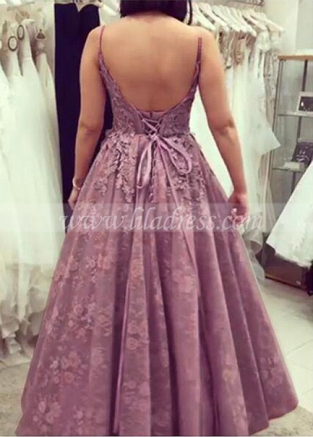 Exquisite Lace Spaghetti Straps Neckline Floor-length A-line Evening Dresses