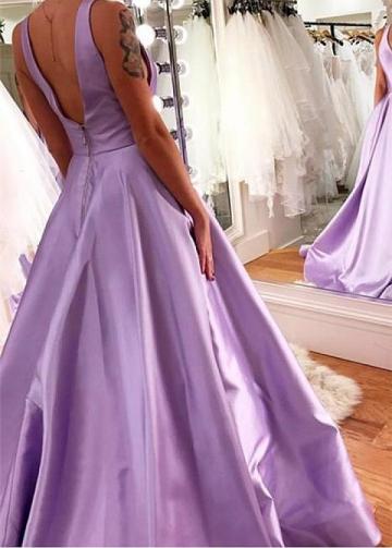 Marvelous Satin V-neck Neckline Floor-length A-line Evening Dresses