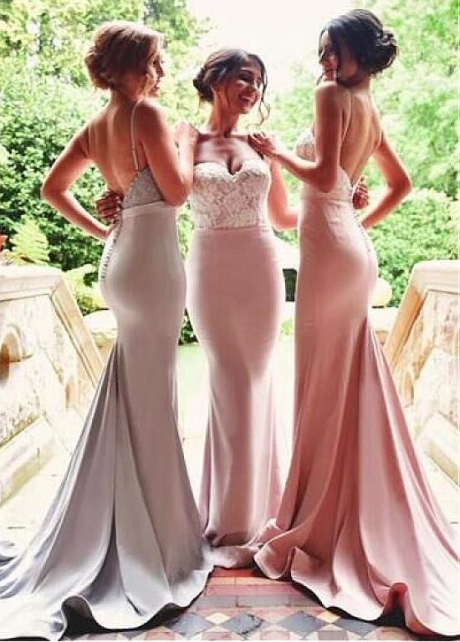 Graceful Satin Spaghetti Straps Neckline Mermaid Bridesmaid Dresses With Lace Appliques