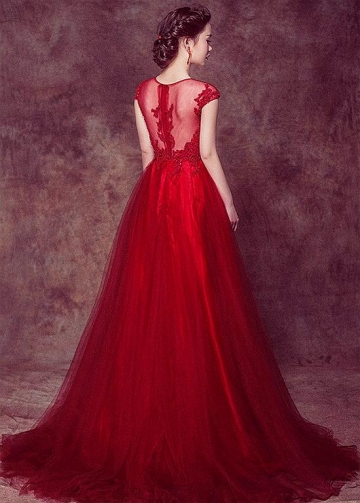 Excellent Tulle Jewel Neckline A-line Prom/Evening Dresses With Lace Appliques & Beadings