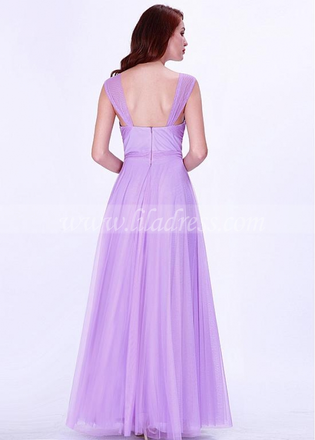 Exquisite Tulle V-neck Neckline A-line Bridesmaid Dresses