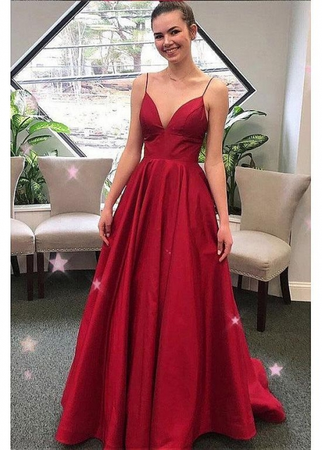 Simple Satin Spaghetti Straps Neckline Floor-length A-line Evening Dresses
