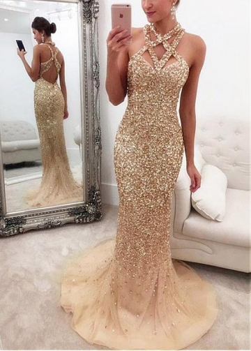 Sparkling Tulle Halter Neckline Floor-length Mermaid Evening Dresses With Beadings