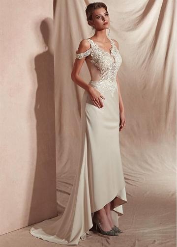 Marvelous Satin V-neck Neckline Mermaid Prom Dresses With Appliques