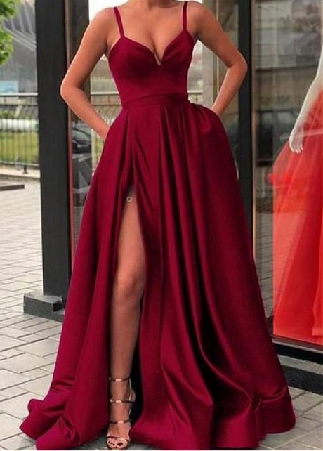 Alluring Satin Spaghetti Straps Neckline Floor-length A-line Evening Dresses With Pockets