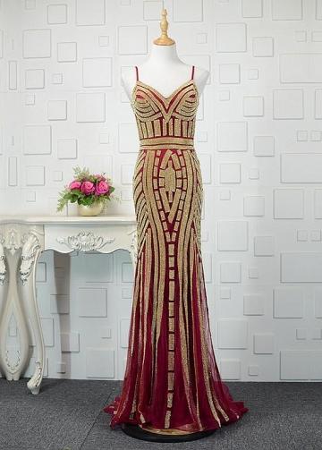 Romantic Tulle Spaghetti Straps Neckline Mermaid Prom Dresses With Beadings