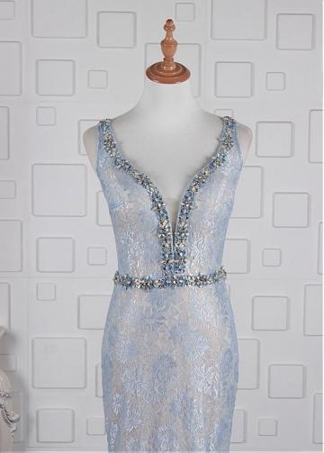 Marvelous Lace V-neck Neckline Mermaid Evening Dresses With Beadings