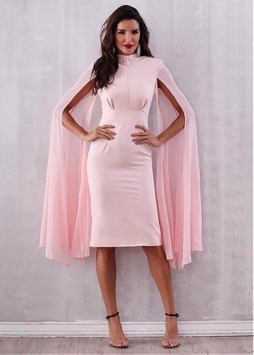 Fashionable Dacron High Collar Knee-length Sheath/Column Evening Dresses