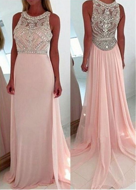Brilliant Tulle & Chiffon Jewel Neckline Floor-length A-line Prom Dresses With Beadings
