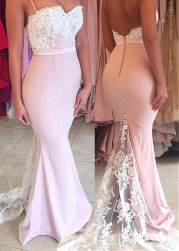 Graceful Pink Spaghetti Straps Neckline Floor-length Mermaid Prom Dresses