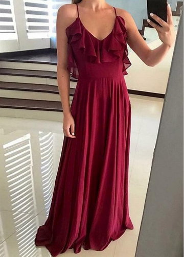 Exquisite Chiffon Halter Neckline A-line Bridesmaid Dresses