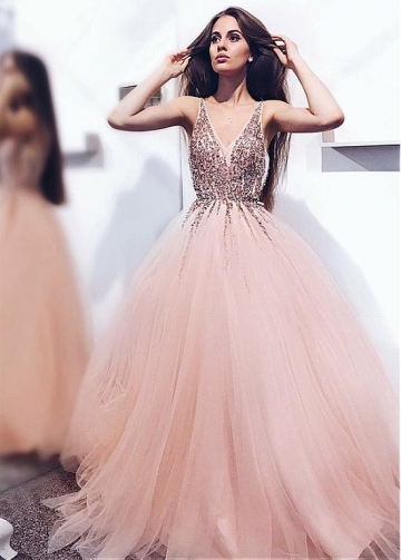 Champagne Tulle V-neck Neckline Floor-length A-line Evening / Prom Dress