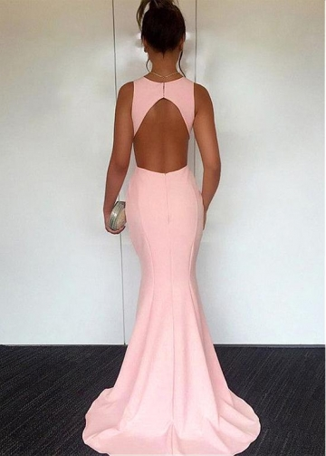 Simple Jewel Neckline Floor-length Mermaid Evening / Prom Dress
