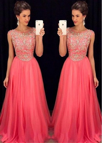 Romantic Tulle Jewel Neckline Floor-length A-line Prom Dress With Beaded Embroidery
