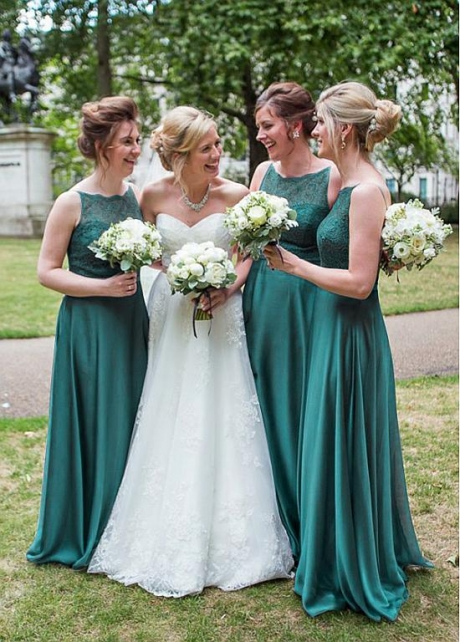 Exquisite Lace & Silk Like Chiffon Jewel Neckline A-line Bridesmaid Dresses