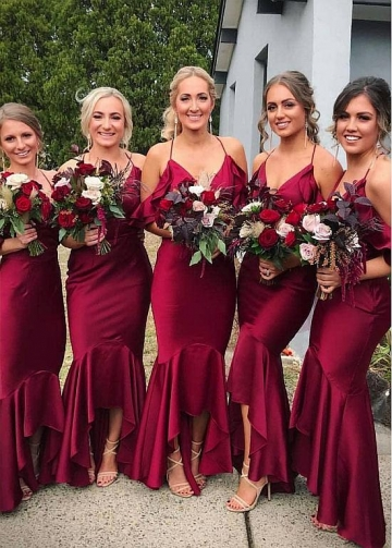 Brisk Satin Spaghetti Straps Neckline Mermaid Bridesmaid Dresses