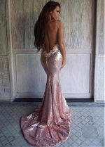 Stunning Sequin Lace Neckline Spaghetti Straps Neckline Floor-length Mermaid Evening Dress With Lace Appliques & Beadings