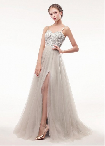 Alluring Tulle Spaghetti Straps Neckline Floor-length A-line Prom Dress With Beadings