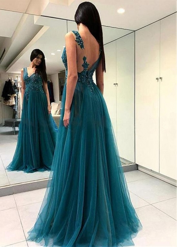 Stunning Tulle Jewel Neckline Floor-length A-line Evening Dress With Beaded Lace Appliques