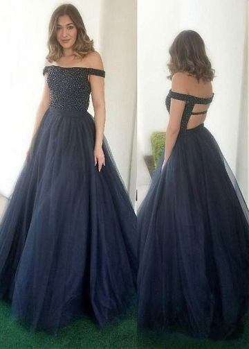 Fashionable Tulle & Satin Off-the-shoulder Neckline A-line Prom Dress With Beadings